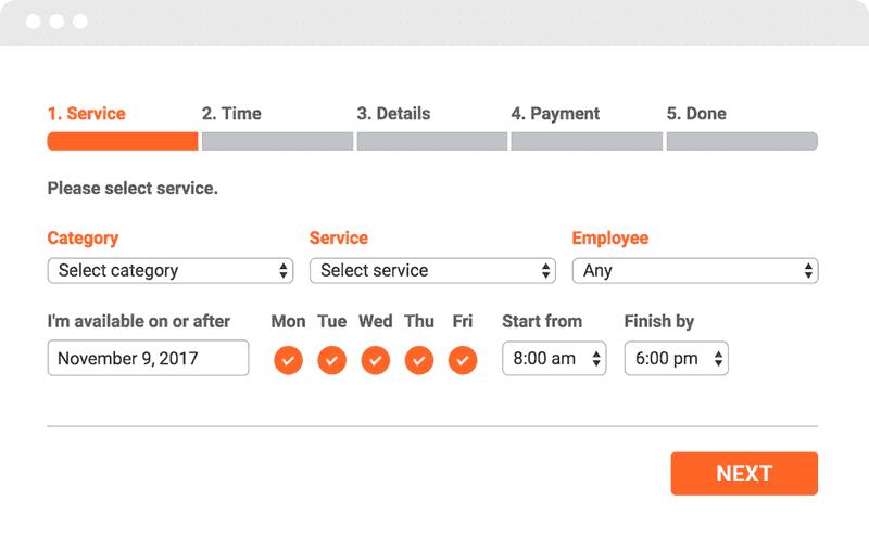bookly agenda planner interface