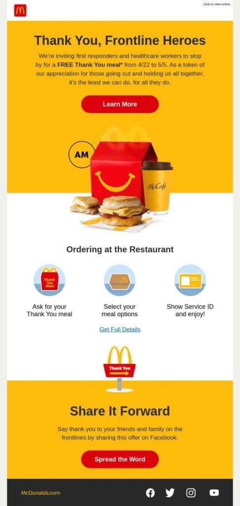 Aanpassingen McDonalds marketing 2021