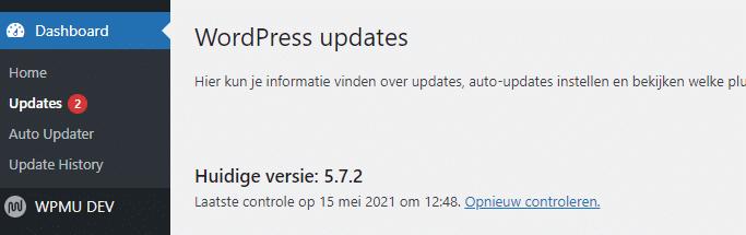 wordpress updates indicator