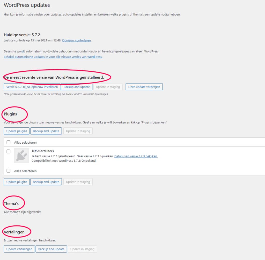 soorten WordPress updates