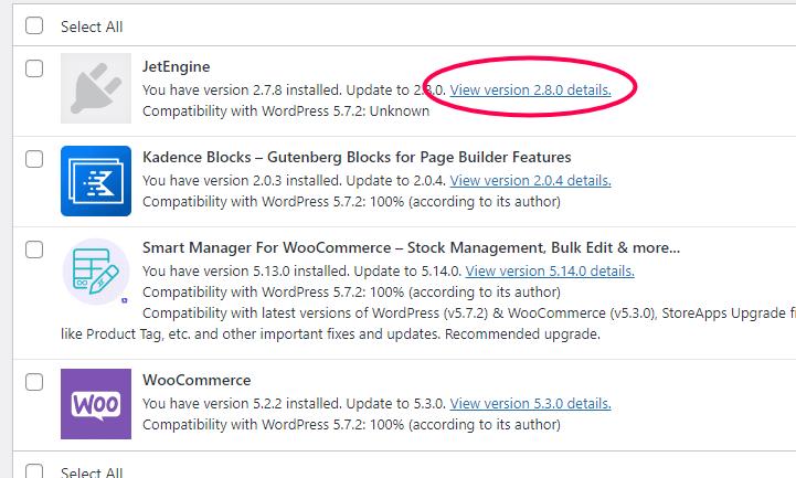 details van de nieuwe plugin versie zien